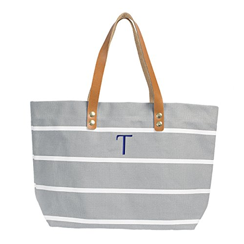 Cathy's Concepts Personalized Striped Tote with Leather Handles, Grey, Letter T (Canvas Personalized Striped)