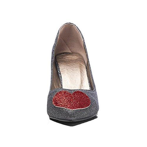 Chaussures Légeres Talon Mélangee Pointu Femme À Noir Haut Agoolar Tire Matière z8CqnwF