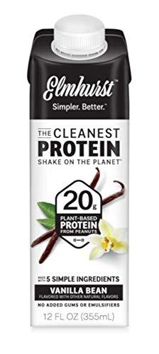 12pk Elmhurst Vanilla Bean Protein Shake – 20g of Protein – 12 oz – Cleanest Protein Shake on the Planet, Only 5 ingredients