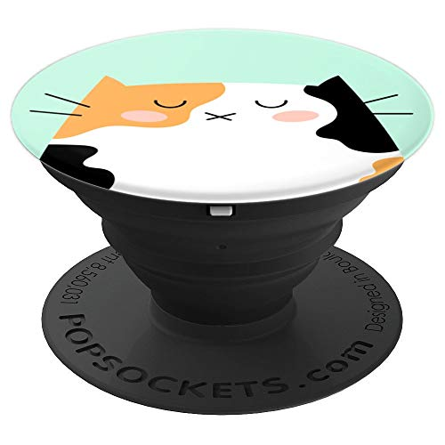 (Calico Cat Cute Animal Pet Illustration on Mint Green - PopSockets Grip and Stand for Phones and)