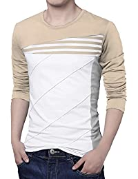 Allegra K Men Color Block Striped Panel Round Neck Long Sleeve Pullover T-shirt