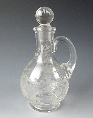 Cambridge Etched Glass CHANTILLY Mini Oil Cruet with Stopper EXCELLENT Cambridge Etched Glass