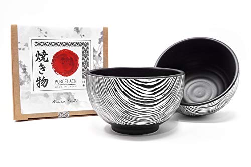 Traditional Japanese Porcelain Rice Bowls - Made in Japan, 18 Ounce, Set of 2 (Black) Decorative Japanese Porcelain Bowls