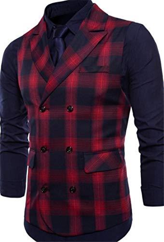 Double JSYAU Red Business Vest Waistcoat Blazer Dress Mens Notched Breasted Plaid Suits Slim Lapel rttZxqO