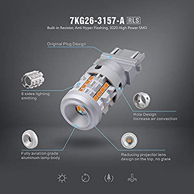 SIRIUSLED RLS 3157 4157 Built In Resistor Canbus Anti Hyper Flashing LED Turn Signal Light Bulb with Full Aluminum Body Dual Filament Smart Driver Amber Orange Color Pack of 2: Automotive
