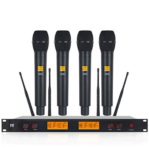 (XTUGA A400 Metal Material 4-Channel UHF Wireless Microphone System with 4 Hand-held for Stage Church Use for Family Party, Church, Small Karaoke Night)