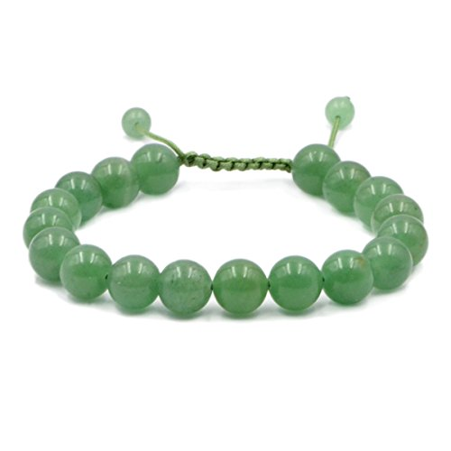 AD Beads Natural 10mm Gemstone Bracelets Healing Power Crystal Macrame Adjustable 7-9 Inch (Green Aventurine)