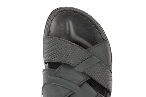 Mens Real Leather Sandals Buckled Strap Back Open Toe Summer Walking Slippers Black Brown Black MjGnVU