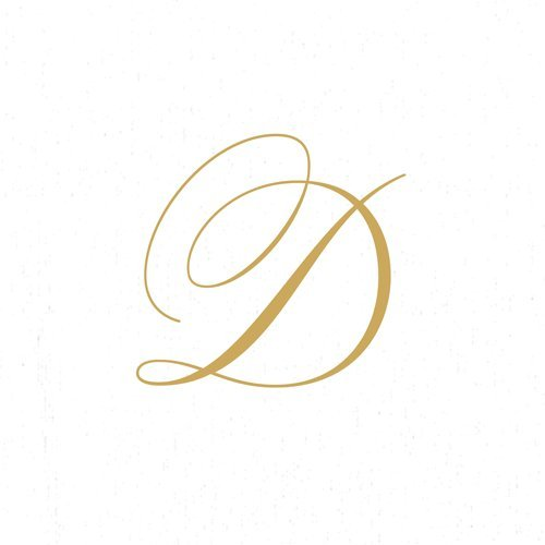 Paper Napkins for Cocktails Monogrammed Personalized with Initial White and Gold D-60 Count Boxed