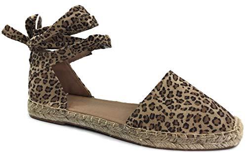 (Womens Ankle Wrap Espadrille Flat D'Orsay Sandal, OatCheet Leopard, 10 )