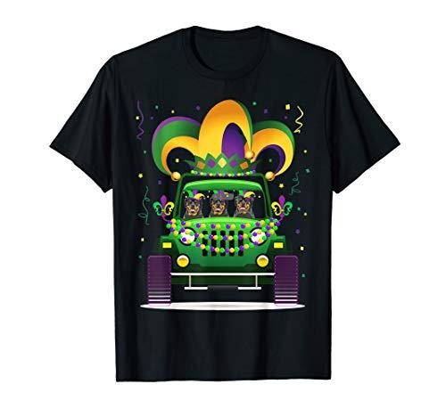 (Rottweiler Riding Jeep Lover Mardi Gras Hat Beads T-Shirt)