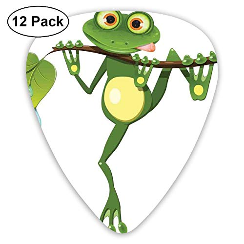 (Guitar Picks 12-Pack,Little Frog On Branch Of The Tree In Rainforest Nature Jungle Life Art Earth)