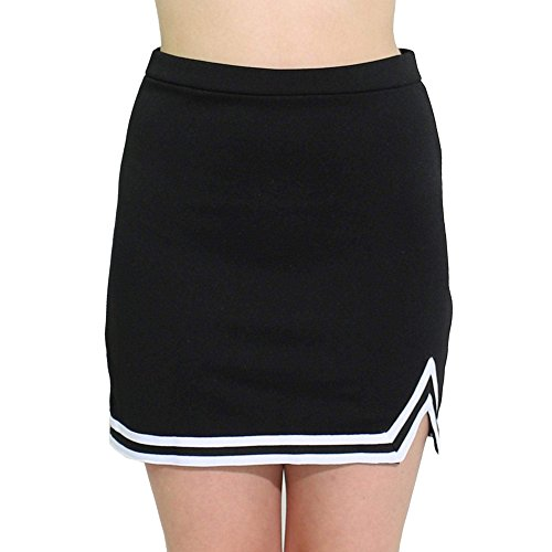 Danzcue Womens Double V A-Line Cheer Uniform Skirt, Black-White, Medium