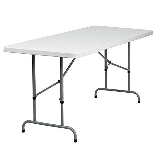 Flash Furniture 30u0027u0027W X 72u0027u0027L Height Adjustable Granite White Plastic Folding  Table
