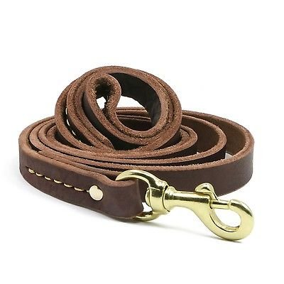 Generic YH-UK3-160918-20 1yh5911yh or Dogs Brown Heavy Duty Durable e Training Leather Dog Lead Leather D Training Lead Long Heav 1.5m 5FT Long Lead 1.5m for Dogs Brown