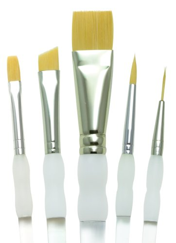 Brush Soft Grip Royal (Royal Brush Soft Grip Beginner Golden Taklon Fiber Paint Brush Set, Assorted Size, Set of 5)