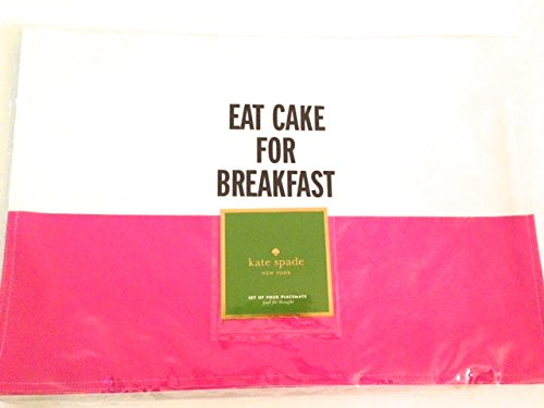 Kate Spade Food for Thought Placemats Hot Pink Eat Cake for Breakfast (Set of 4)