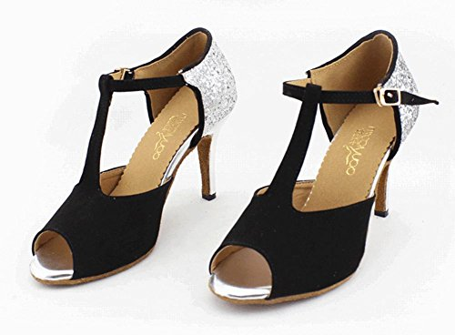 Ballroom Strap QJ6125 Dance T Tango Peep Womens Heel Sandals Latin Minishion Suede Black High Salsa Toe wz7fOWRFq