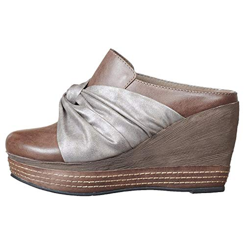 Women's Gathered Mule Grey Hi Antelope 958 Leather AxtwdX
