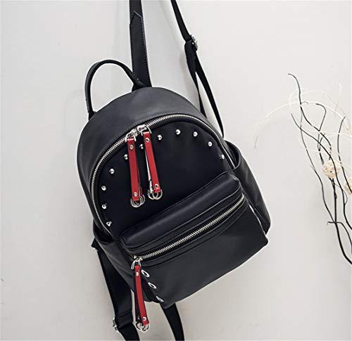 Mochilas Mochila Fashion Portatil Niña Mujer Retro Skitor Piel Escolar Negro Casual Shopper Bolsos Oficina Simple Escolares Impermeable Pequeña EqtzwBt
