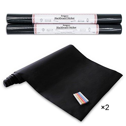 Ezigoo Chalkboard Wall Sticker - Contact Paper Removable Blackboard Sticker - 16.9'' x 82.7'' x 2rolls 10pcs of Chalk by Ezigoo