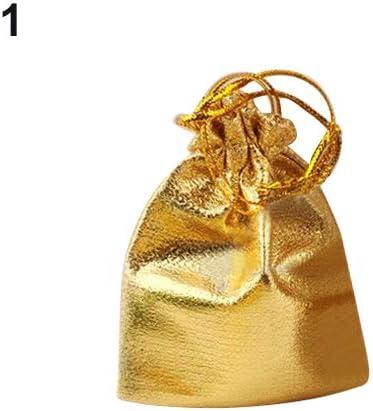 Quanjucheer - Bolsas de organza con cordón para regalar en bodas, dulces, regalos de Navidad, 25 unidades Golden