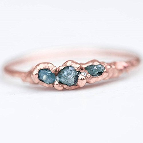Triple Raw Blue Diamond Ring, Size 8, Rose Gold, April Birthstone (Yellow Womens Box Band)