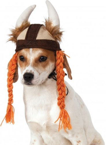Pitbull Halloween Costumes (Rubies Costume Company Viking Hat with Braids for Pets, Medium/Large)