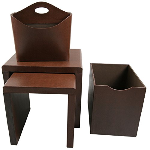 Instant Mosaic 50104 Brown Watercolors Leatherette Side Tables and Storage Accessories (Set of 4) by Instant Mosaic