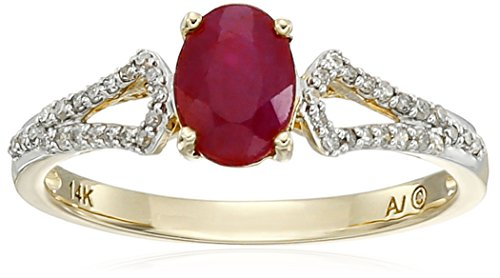 14k-Yellow-Gold-Oval-Ruby-and-Diamond-Ring-110cttw-I-J-Color-I2-I3-Clarity-Size-7