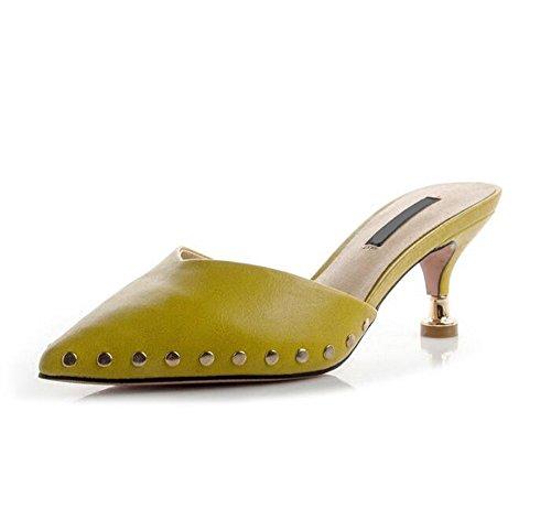 Sandalias Transpirable Ajunr Baotou Moda sandalias remaches talon 38 mitad 8cm tacón 39 moda Nueva elegante Sharp Outer Wear Amarillo zapatillas 5 Mujer de fino tZEtxnrwq