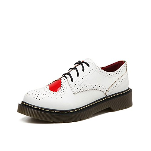 T-JULY Womens Fashion Oxfords Shoes - Comfy Lace-up Thick Sole Red Peach Heart Round Toe Shoes RSiTKuf3