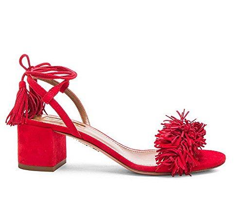 Puntera Cordones Esmerilado AllhqFashion Abierta Rojo Sólido Sandalia ancho Mujeres Tacón nXqwxwpF6Y