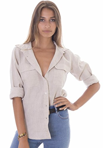 (CAMIXA Womens 100% Linen Button Down Shirt Casual Basic Blouse Pockets Loose Top M Natural)