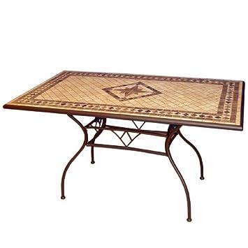 Tavoli Da Giardino In Ferro Con Mosaico.Tavolo In Ferro Battuto Da Giardino Piano In Mosaico 200x100 Amazon