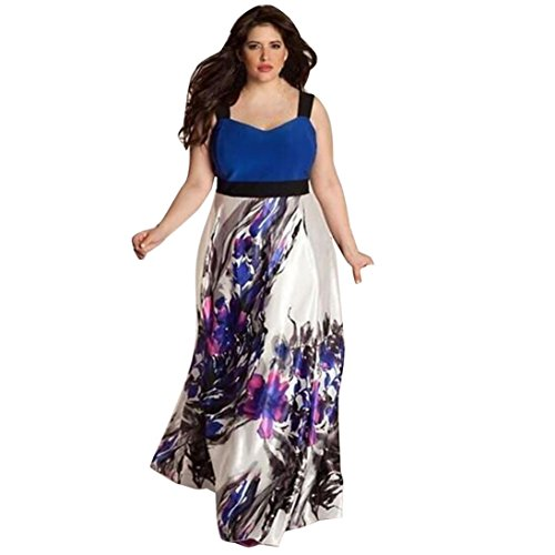 Tsmile Plus Size Women Floral Printed Long Evening Party Prom Gown Formal Dress (2X-Large, Blue) -