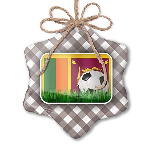 NEONBLOND Christmas Ornament Soccer Team Flag Sri Lanka Grey White Black Plaid