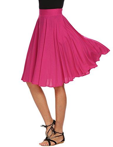 Pleated Pocket Pencil Skirt (Humorcup Women's Elastic Waist Pleated Midi Skirt with Pocket, Peach, Small)