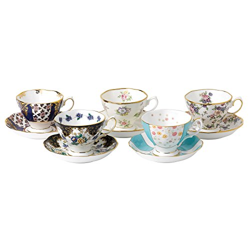 (Royal Albert 40017543 100 Years 1900-1940 Teacup & Saucer Set, Multicolor , 5 Piece )