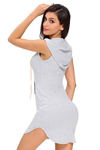 Women's T Dress Cfanny Mini Hoodie Gray Sexy Shirt Casual Neck V Cotton 6fqn0fwd