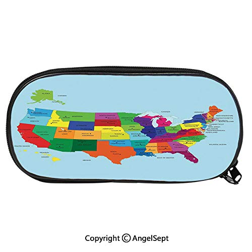 Pencil CaseEducational Map of America USA with States and Capitals City California Texas New York Printed Art Decorative for Pen Holder with Zipper Children Back to School Big Capacity Pencil Pouch S