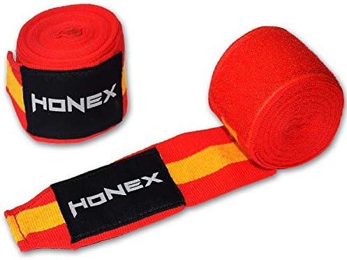Honex - Vendas para Manos, para Boxeo, Extensibles, de Estilo Mexicano, de 4 Metros, con diseño de la Bandera de España, Boxeo y Artes Marciales, Muy Suaves y duraderas, Unisex, 1 par: