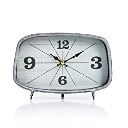 Dannto Retro Vintage Metal Frame Decorative Non-ticking Clock Home Decor Desk Clock(One size, Grey-square)