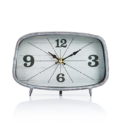 Dannto Retro Vintage Metal Frame Decorative Non-ticking Clock Art Gift Home Decor Desk Clock(One size, Grey-square) - Square Desk Clock