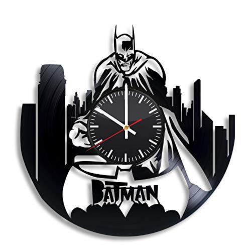 Batman Gotham City Vinyl Clock - DC Comics Art Wall Room Decor Handmade Decoration Party Supplies Theme - Best Original Present Gift Idea - Vintage Modern Style