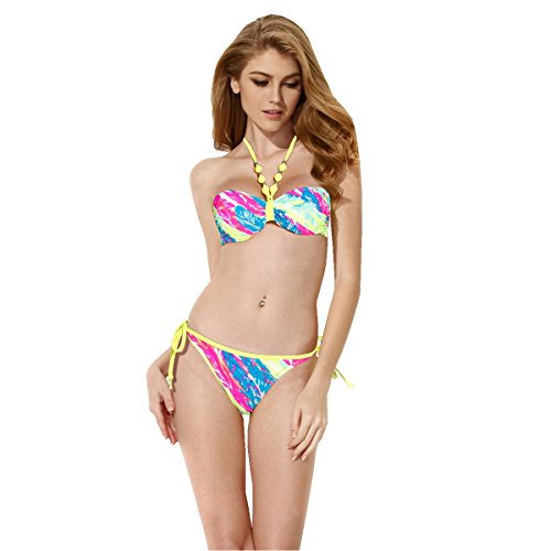 Colloyes Womens Palm Print 1 2 Cup Bandeau Top Bikini Neon Yellow Ties Pearl M