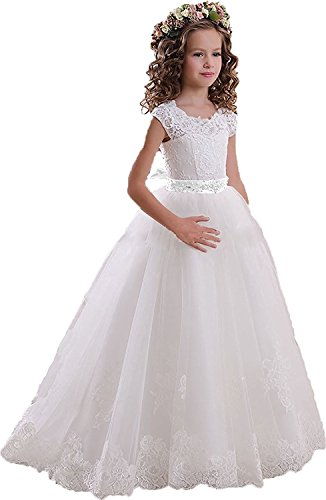 Little Star Lace Flower Girls Dresses First Communion Dress White A Line Flower Girl Bridesmaid Dresses 2017 Size 7 (First Communion Dresses 2017)