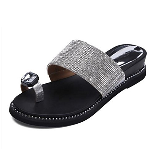 - Women's Slippers Fashion Slippers Flat Joker Rhinestones Clip Toe Slippers Korean Wear Sandals Flat Sandals,Fashion sandals (Color : B, Size : 35)