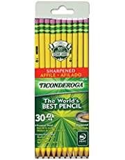 TICONDEROGA Pencils, Wood-Cased, Pre-Sharpened, Graphite #2 HB Soft, Yellow