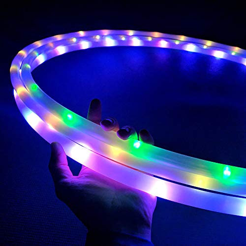 UltraHoop Shuffle LED Hoop Fully Rechargeable and Collapsible – Smart Auto Color Changing and Strobing LED Lights – Light Up Hoola Hoops HDPE